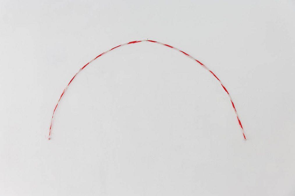 ORESTIS MAVROUDIS, Sad, 2021, Found safety ribbon, Dimensions variable. Courtesy of the artist & Closing Soon. Photo: Nikos Katsaros