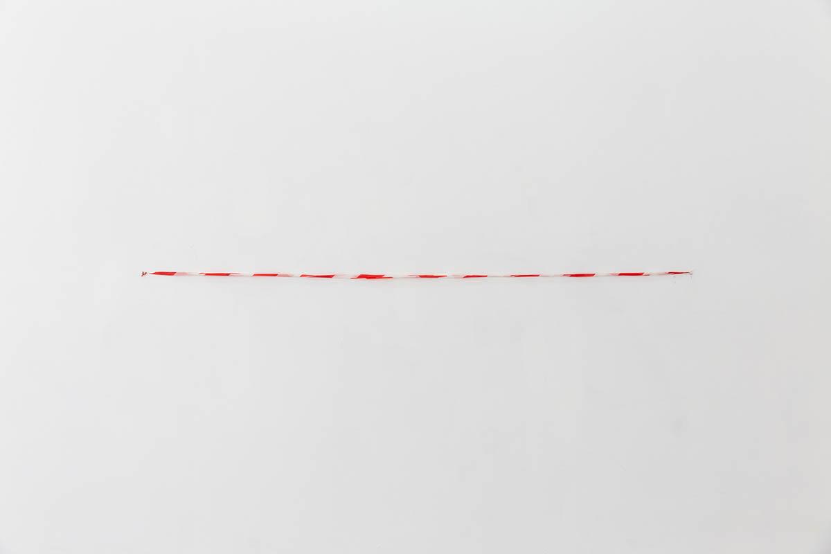 ORESTIS MAVROUDIS, Dead, 2021, Found safety ribbon, Dimensions variable. Courtesy of the artist & Closing Soon. Photo: Nikos Katsaros
