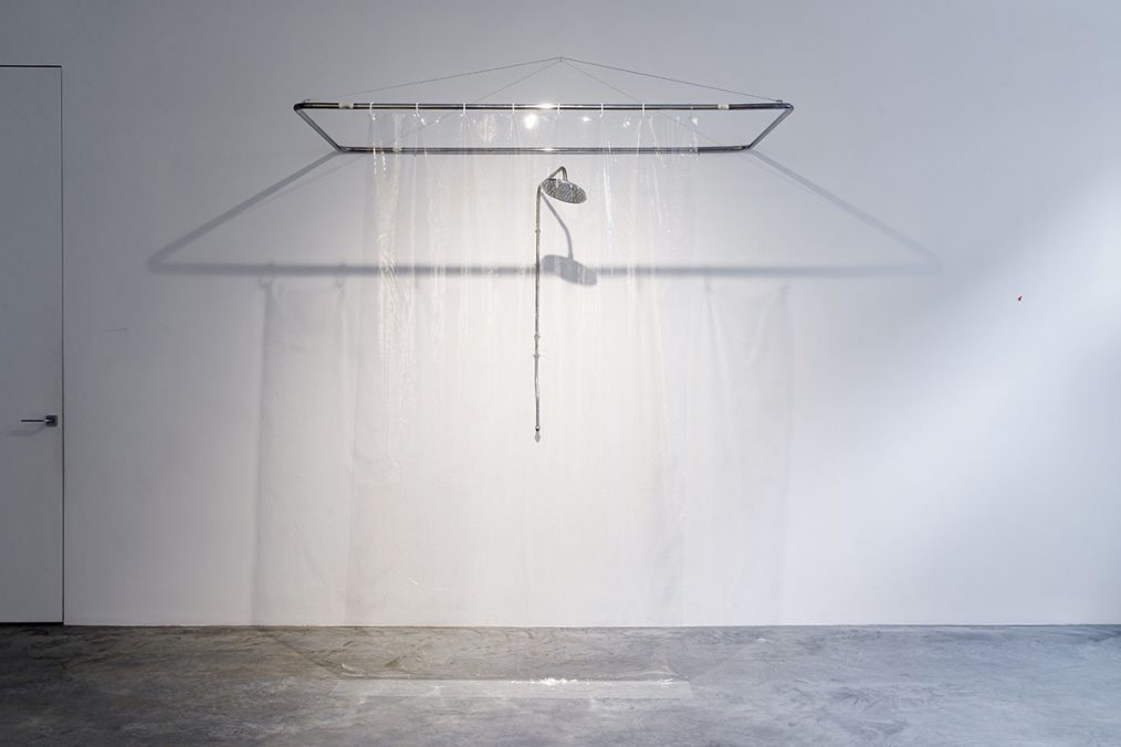 """Object from the installation """"I have already been here"""", 2020 Shower, metal, PVC 235x200x95 cm"""
