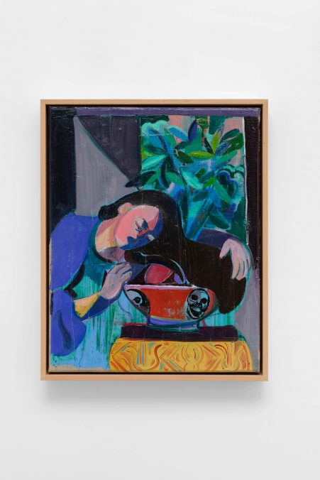Amber Andrews, Hung Over Her Sweet Basil Evermore, 2020. Oil on linen, in artist's wooden frame, 53 × 43 × 6 cm (20 7/8 × 16 7/8 × 2 3/8 inches). Photo: Aurélien Mole. Courtesy Amber Andrews and Ciaccia Levi, Paris