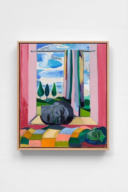 Amber Andrews, The Vision, 2020. Oil on linen, in artist's wooden frame, 63 × 53 × 6 cm (24 3/4 × 20 7/8 × 2 3/8 inches). Photo: Aurélien Mole Courtesy Amber Andrews and Ciaccia Levi, Paris