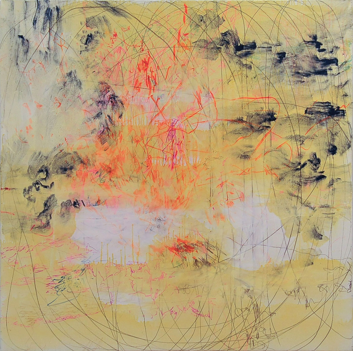 6 Andreea Albani - Untitled (Time # 0.2 series) (# 4) oil, printing ink, coal, marker on canvas, 2014