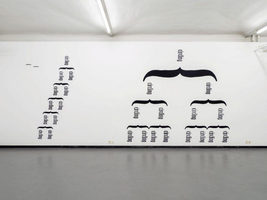 Ausstellungsansicht: SOLO XII ANJA NOWAK, Bleistift auf Papier auf Holz (pencil on paper on wood), 9. März – 17. April 2021 FOTOGALERIE WIEN links: Das Kreisen bewohnen, zwei Vögel (inhabit the circling, two birds), 2020, Schriftbild, Acryl rechts: Das Kreisen bewohnen (inhabit the circling), 2020, Schriftbild, Acryl ©Michael Michlmayr für FOTOGALERIE WIEN