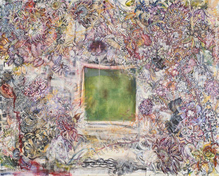Karin Pliem, Aria di Chicanná con testuggine e pannocchie,2019,Öl_Lw,200x250cm
