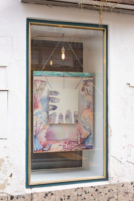 Jessica Grundler, Im Raum verdichtete Zeit, Assemblage/Öl auf Leinwand, 115 x 90 cm, 2020