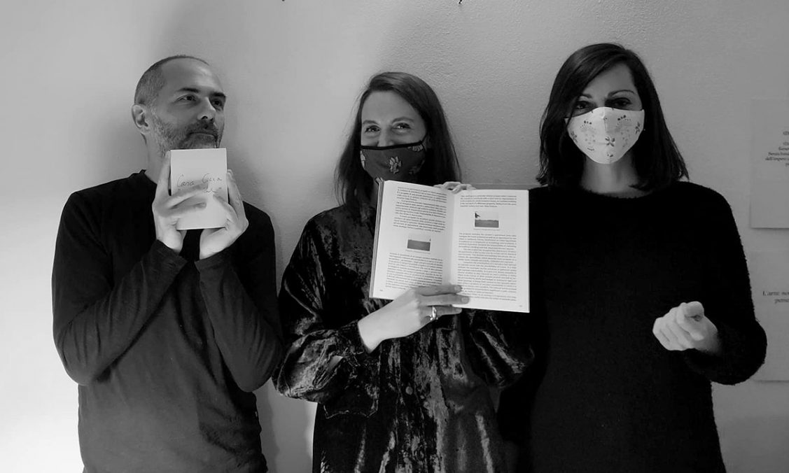 Luca Ruali, Giulia Currá & Mata Tomasello Trifilò with the calendar and Opposizioni book