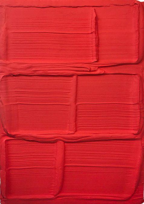 Harmen van der Tuin, Stone Red, mixed media, 100 x 140 x 15cm, 2019