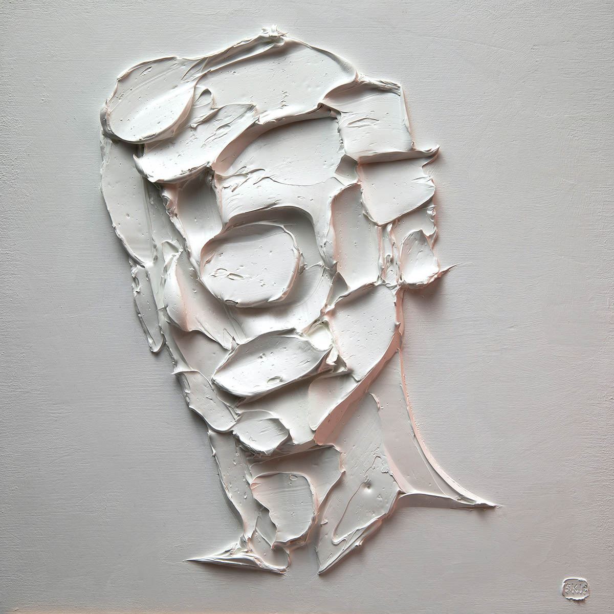 Salman Khoshroo, WOWBA-11, Knife Impasto, oil on wood panel, 30 x 30cm