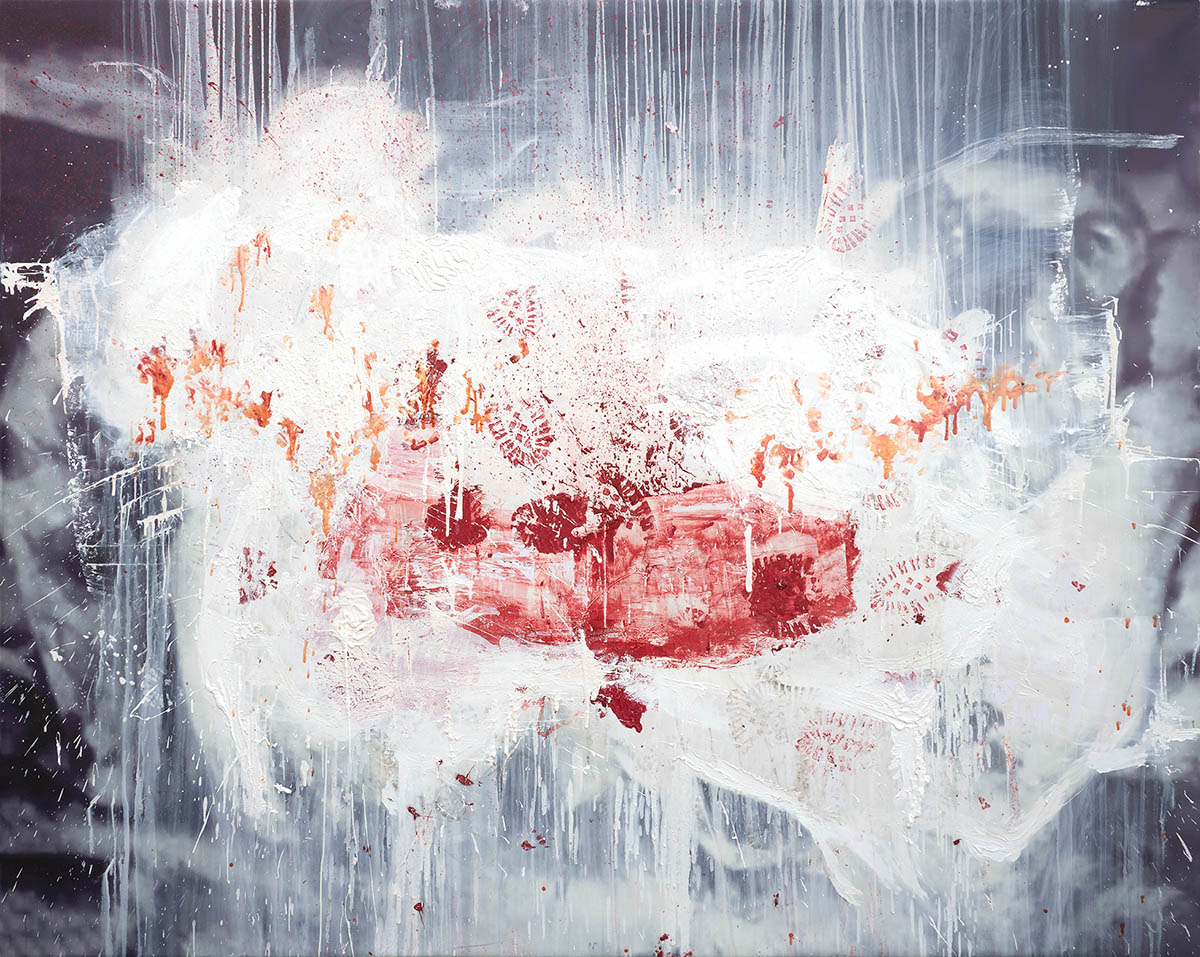 """Daniel Spivakov, """"The Good and the Bad, the Ecstasy, the Remorse and Sorrow, the People and the Places and how the Weather Was (over massacre)"""", 2021. Courtesy of the artist and Stallmann, Berlin."""