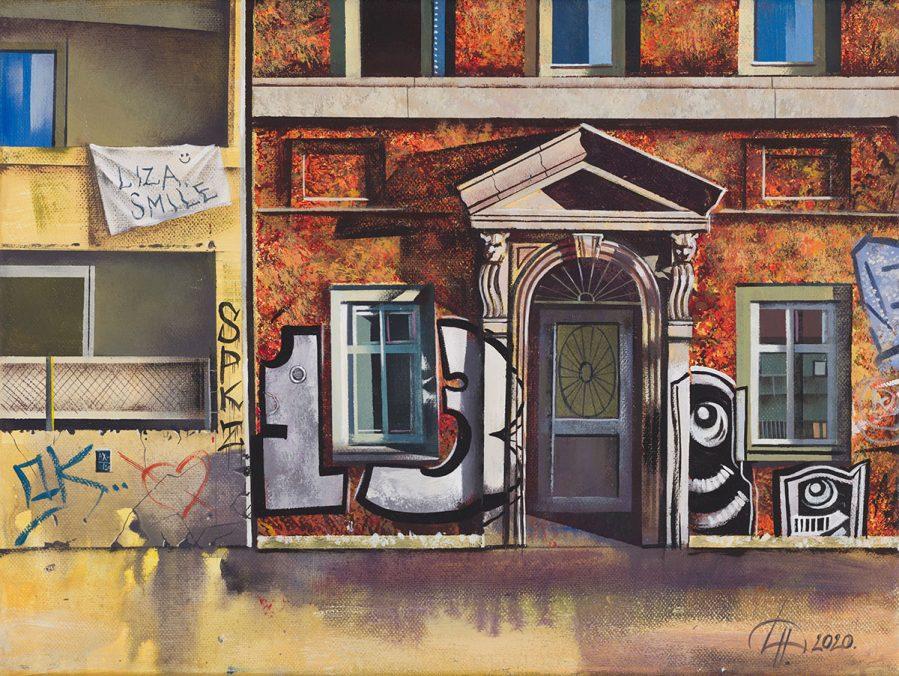 Messages series. Balcony art. Acrylic on canvas, 30x40cm, 2020