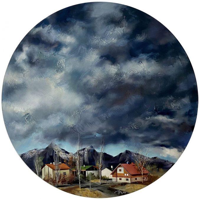 Serles. Tirol. acrylic on canvas, round 80cm, 2020