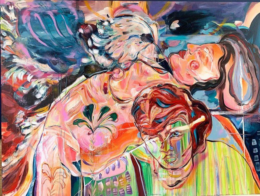 Innere Trieb, 160cmx120cm acrylic and spray on canvas 2021