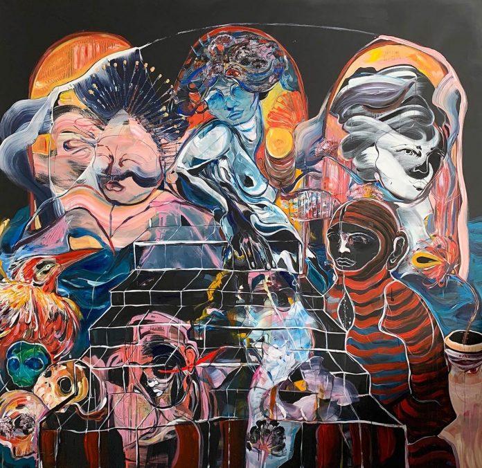 Momentum, 200cmx200cm acrylic and spray on canvas 2020