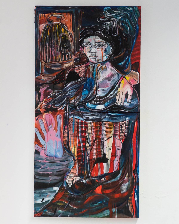 Cage ouverte, 70cmx 140cm  diptych acrylic and spray on canvas 2020