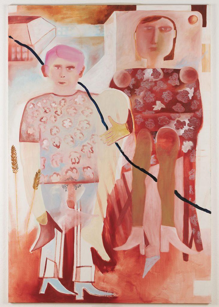 Ferdinand Dölberg Versuch zu Zweit_2019_190 x 130 cm_Oil and chalk on canvas