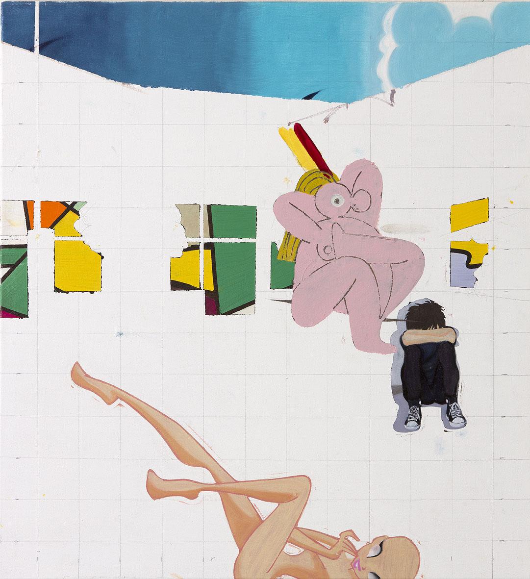 Georg Frauenschuh. ohne Titel (stained glass), 2020, Öl/Lw., 70 x 65 cm