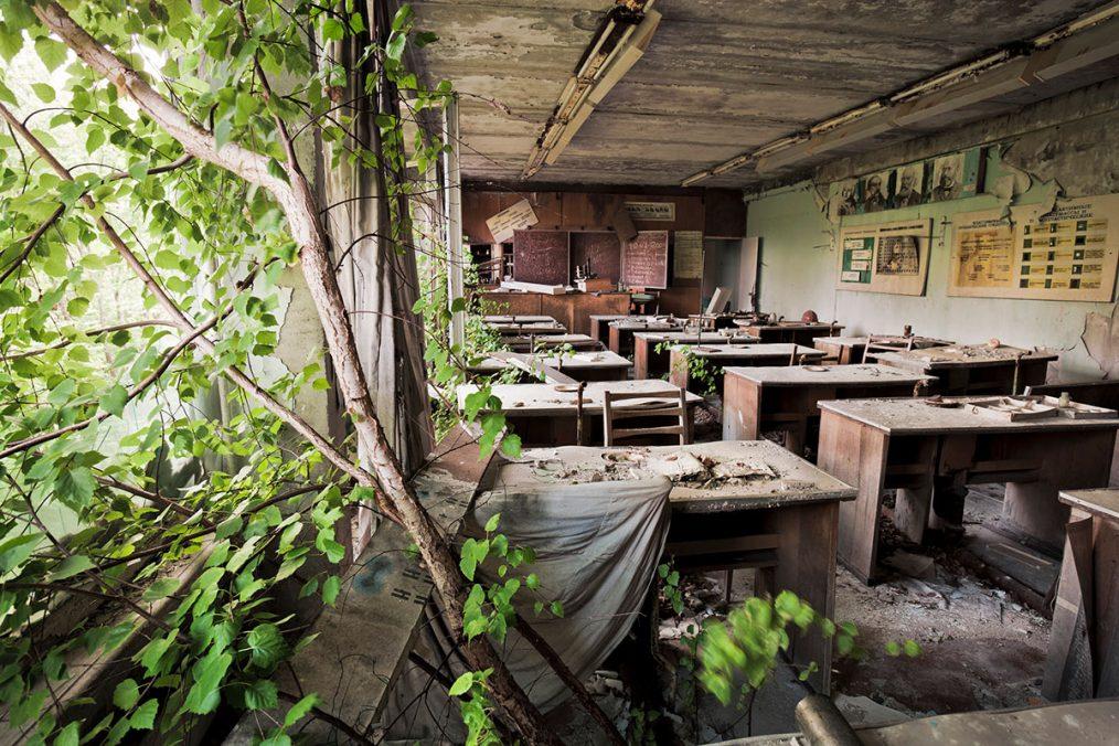 Prypjat, Ukraine, 2005. Bäume wachsen in einer seit zwei Jahrzehnten leer stehenden Schule.