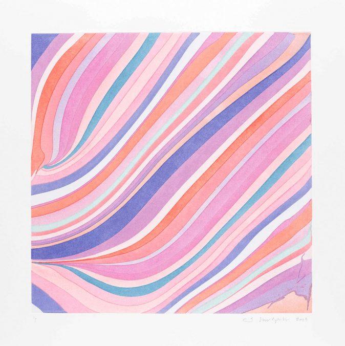 Ian Davenport, 7 am Ghost, aus der Serie Diagonals, 2019, Radierung, 62 x 62 cm, Unikat