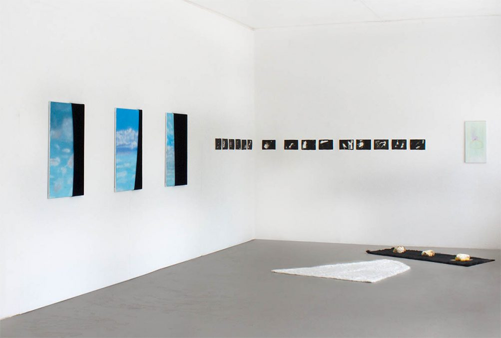 """Exhibition view """"Searching for the lost Unity"""" with Guadalupe Aldrete, Sofia Cruz Rocha and Paula Flores at Meno Parkas Gallery, curated by Marcello Farabegoli and Ute Burkhardt-Bodenwinkler."""