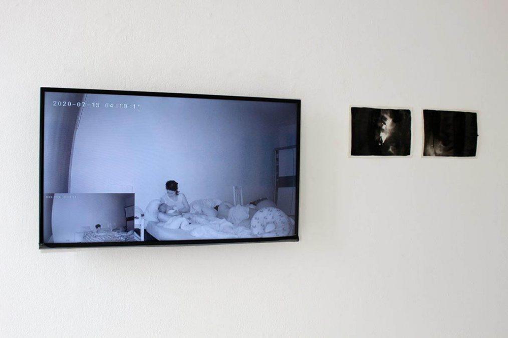 Guadalupe Aldrete @guadalupe_aldrete_lala_nomada Installation view, 2021 Multi-chanel IR video and Watercolour on paper