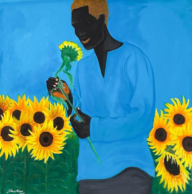 John MADU Sunflowers and man 2021