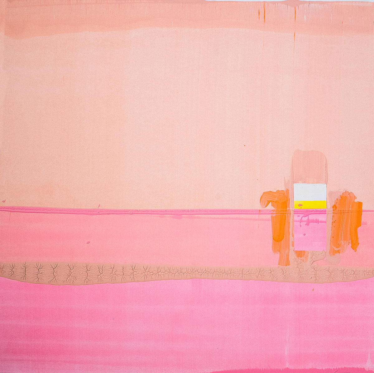 Lena Knilli I Am Still Looking For The Door (pink 1), 2019 Aquarell, Akryl und Eitempera auf Papier 70 x 70 cm Foto: F Alpagu