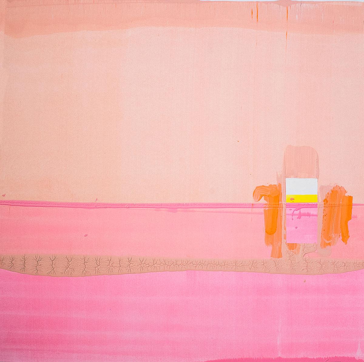 Lena Knilli I Am Still Looking For The Door (pink 1), 2019 Aquarell, Akryl und Eitempera auf Papier 70 x 70 cm Foto: F Alpagu