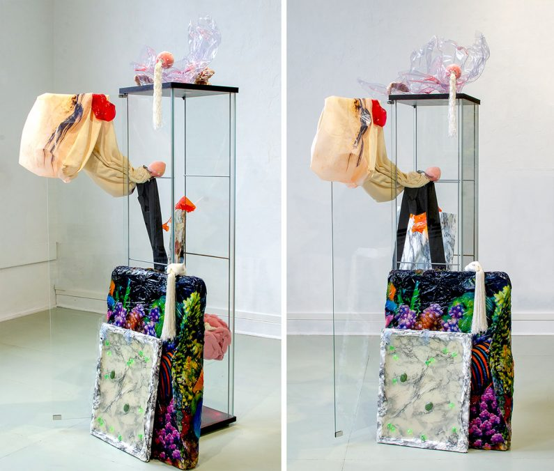 a tiny protest against time, mixed media installation, 190cm x 30cm 40cm, 2021