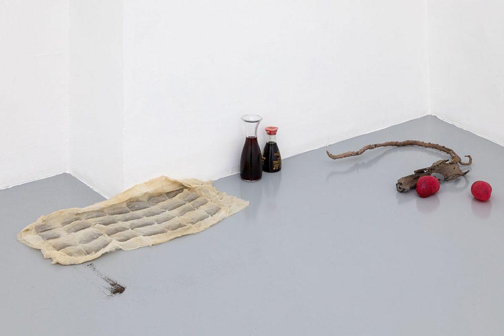 Luca Francesconi, Percorso di transizione sessuale e percorso di transizione agricola, 2021, bronze, soy, wine, resin, silk, soil, var. dim., Photo: Danilo Donzelli