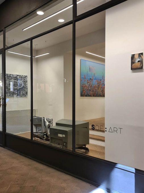 "Installation shot of ""A Post-Internet Quarantine"" show at Sof-Art"