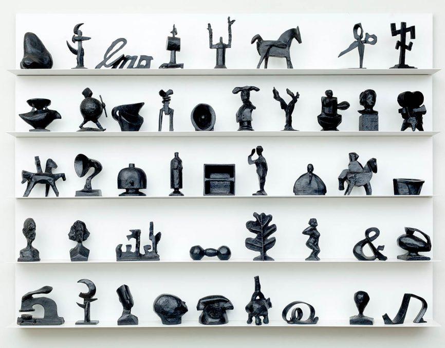 William Kentridge, LEXICON, 2017. Set of 44 small bronzes 136,5 × 180 × 18 cm, Edition of 8. Courtesy Galleria Lia Rumma Milano/Napoli. Section: Established Contemporary