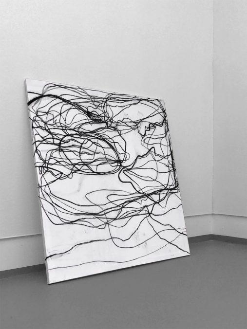 Cisano, Holzkohle auf Leinwand, 150x130cm, 2020