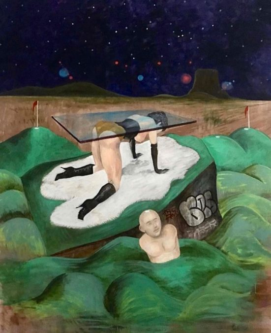 Noah Becker, Midnight at the Mini-Golf, 2020, 48 x 36 inches, acrylic on canvas