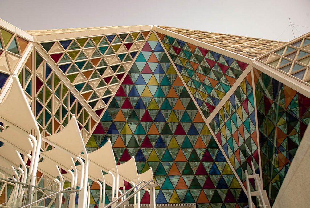 Daniel Buren Colored Triangles by Myriad, for Riyadh work in situ KAFD Conference Center, Riyadh, Saudi Arabia, 2020-2021 Auto-adhesive colored transparent vinyls Courtesy the artist and GALLERIACONTINUA Photo © Riyadh Art