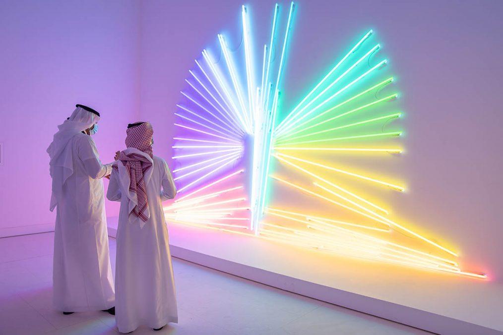 Daniel Firman, Butterfly, 2007. Neon tubes. 350 x 635 cm. Courtesy the artist and the Farjam Collection. Photo © Riyadh Art 2021