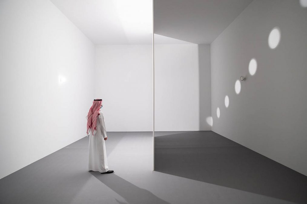 Nancy Holt, Holes of Light, 1973. Partition wall perforated with circles and electric light. Dimensions variable. Courtesy Dia Art Foundation with support from Holt-Smithson Foundation. Photo © Riyadh Art 2021