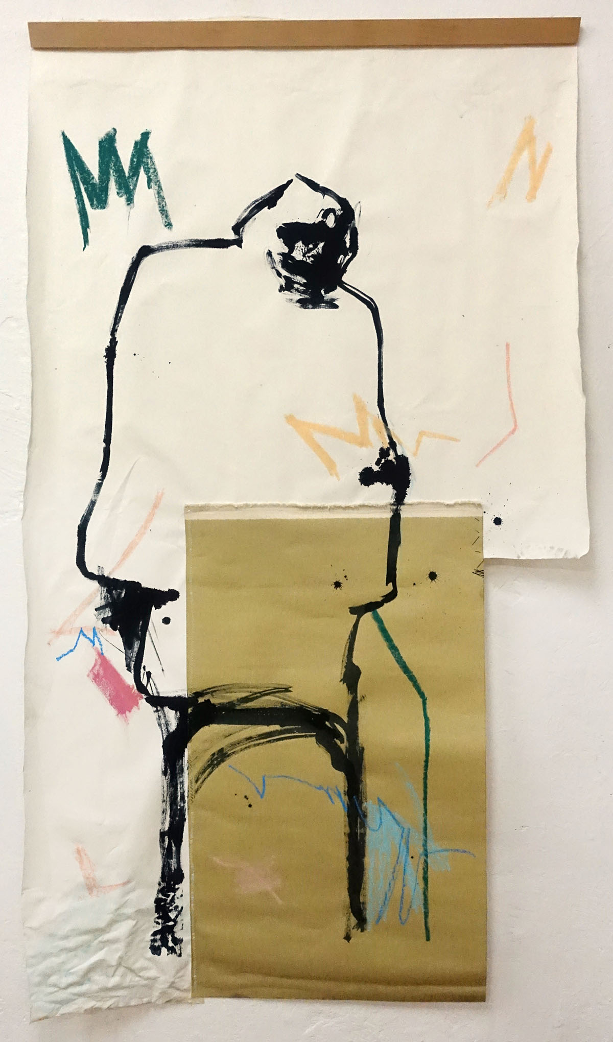 """he should..."" ink, oilpastel, canvas and wood, 220x110cm, 2019"