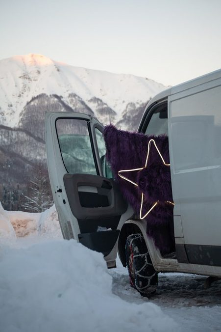 The Polka van chained for the snow with an installation by Giulia Poppi