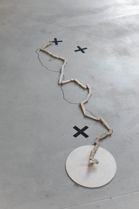 Judit Lilla MOLNÁR_Eroded Layer_2021_installation, wood, enamel, soil, variable dimensions......