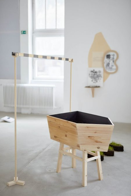 Judit Lilla MOLNÁR_Eroded Layer_2021_installation, wood, enamel, soil, variable dimensions.