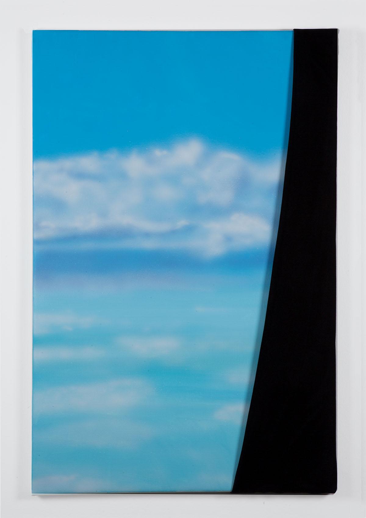 """""""Sky VI"""", 2021, Acryl und Samt auf Leinen, 60 x 90 cm. Foto von Elena Kristofor."""