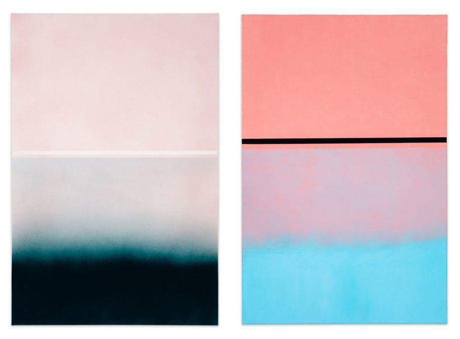 """Links- """"A small light can light up the darkest"""", 2020, Acryl auf Leinwand, 150 x 100 cm. Foto von Kunst Dokumentation.     Rechts, """" 138 GOOD LUCK"""", 2020, Öl und Arcyl auf Leinwand, 150 x 100 cm. Foto von Kunst Dokumentation."""