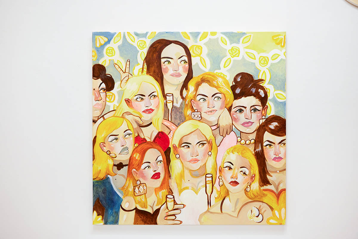 Spencer Chalk-Levy, All the awful Girls i went to High School with, 2017, Acryl auf Leinwand, 120 x 120cm