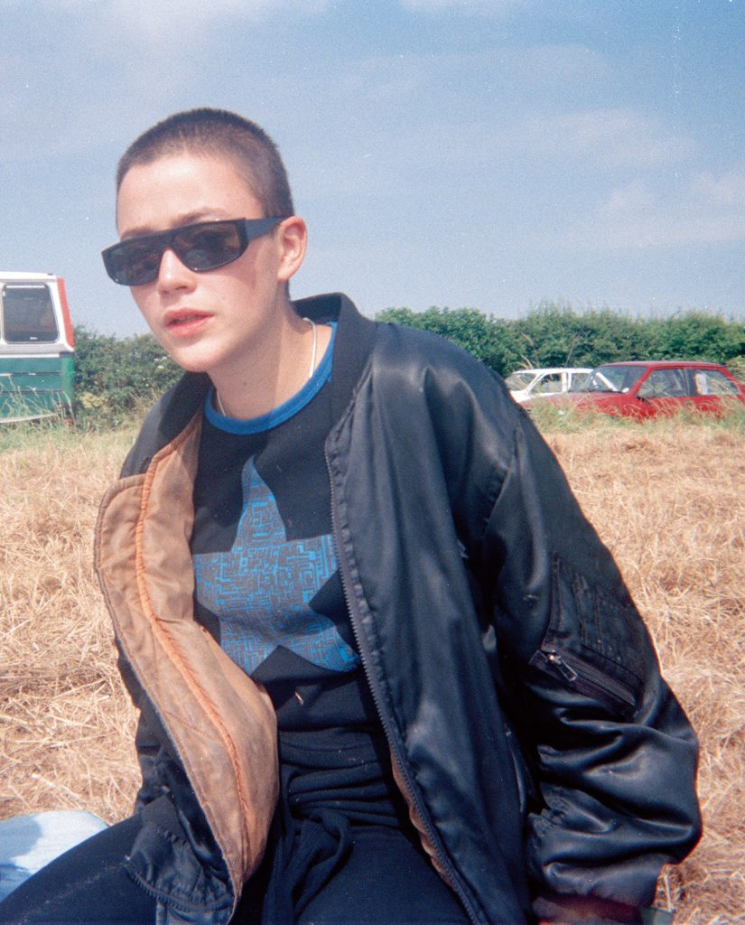 Seana in a field, somewhere in 1995.
