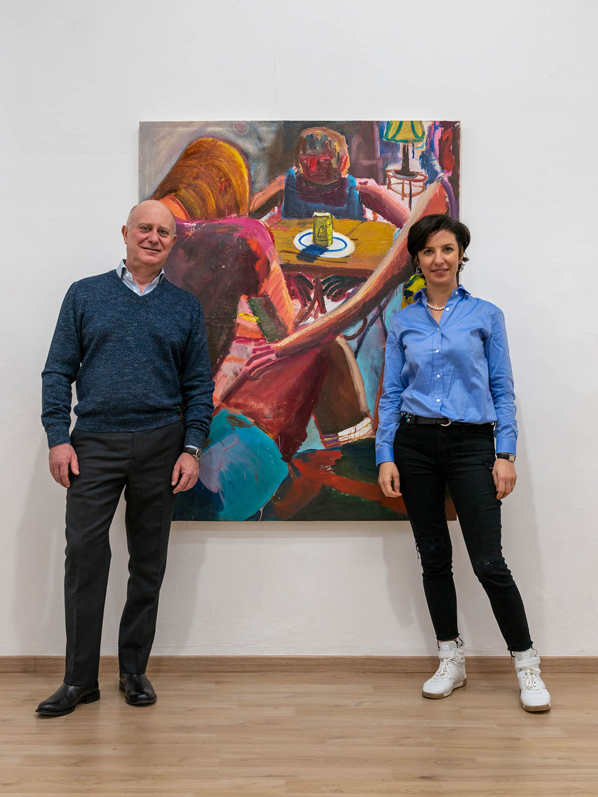 Tatiana Yasinek and Marco Palacino, collector of the gallery and founder of Orizzonte Capital Sgr, with a work by Jacob Patrick Brooks (1994, USA), whose show has opened in January 2021, photo by Mattia Mognetti