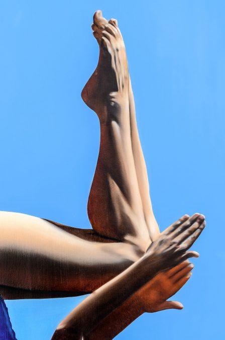 Thorben Eggers, Turm 1 (detail), oil on canvas, 143 x 100 cm, 2018. Studio Düsseldorf, Photo: Thorben Eggers