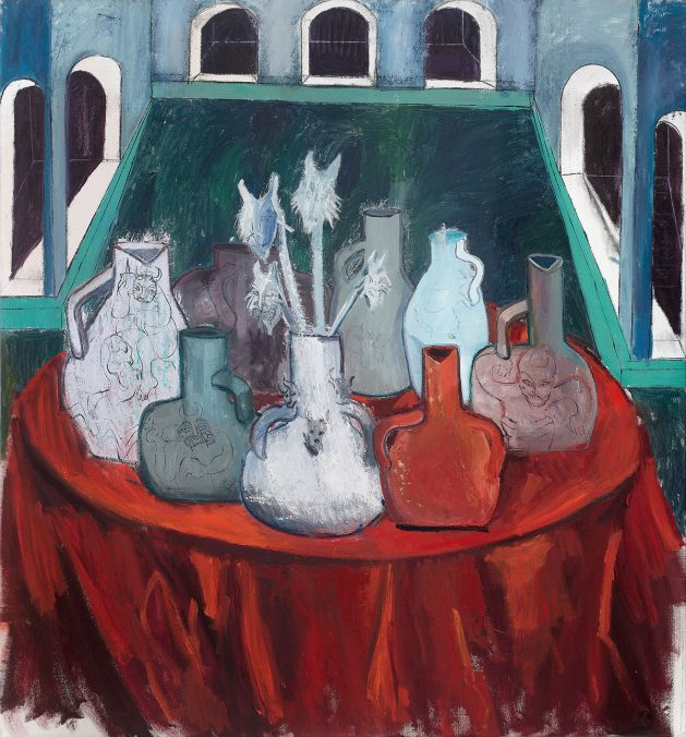 Tincuta Marin - Medieval Interiror and Ghost Vases, 200x180cm oil on canvas, 2021, courtesy Jecza Gallery Spark stand P1