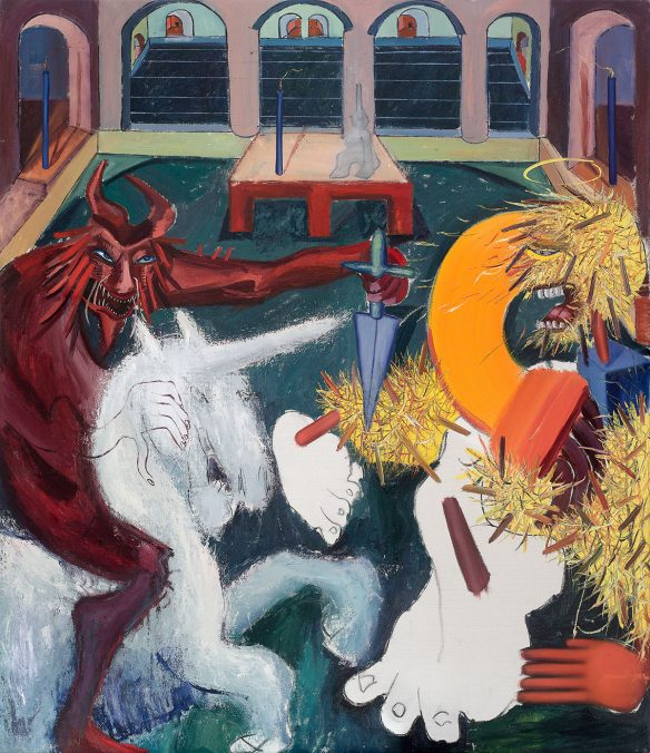 Tincuta Marin - Riding the Unicorn and St Bigfoot in Medieval Interior, 202x173cm, oil on canvas, 2021, courtesy Jecza Gallery, Spark stand P1