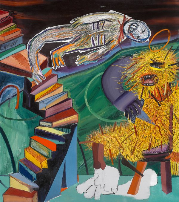 Tincuta Marin - St Bigfoot and the Staircase (after Duchamp's Nude Descending a Staircase), 204,5x197cm, oil on canvas, 2020, courtesy Jecza Gallery Spark stand P1