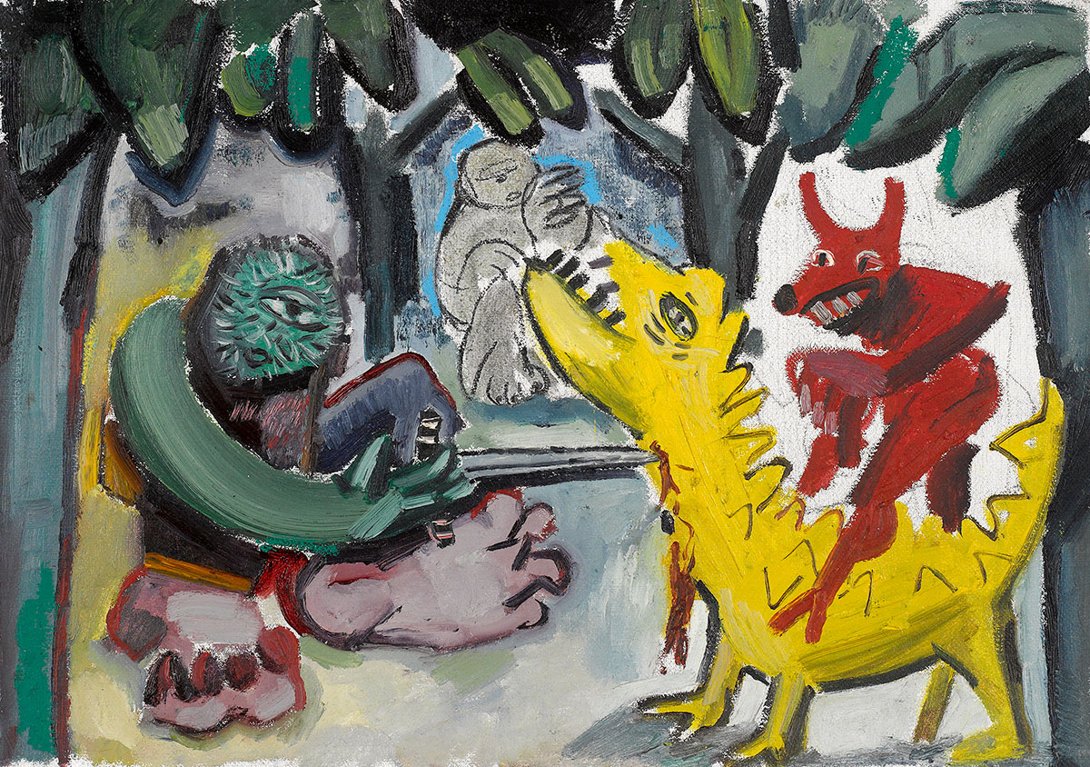 Tincuta Marin, Le Déjeuner sur l'herbe in Bigfoot's world,49x685,5cm, oil on canvas mounted on wood, 2019, courtesy Jecza Gallery Spark Spatnd P1